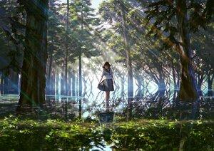 Rating: Safe Score: 87 Tags: black_hair forest mocha_(cotton) original reflection scenic school_uniform shade short_hair signed skirt tree water User: otaku_emmy