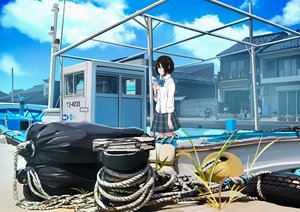 Rating: Safe Score: 43 Tags: black_eyes black_hair boat bow clouds jpeg_artifacts original sakeharasu school_uniform short_hair skirt sky User: RyuZU