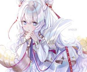 Rating: Safe Score: 54 Tags: anthropomorphism aqua_eyes azur_lane cropped dress le_malin_(azur_lane) long_hair mullpull pantyhose ribbons watermark white_hair User: otaku_emmy