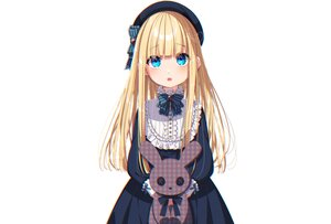 Rating: Safe Score: 77 Tags: aqua_eyes blonde_hair blush bow bunny dress fang goth-loli hat loli lolita_fashion long_hair mamyouda original signed white User: otaku_emmy