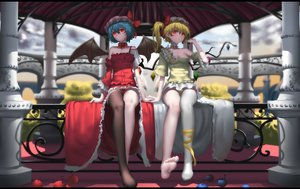 Rating: Safe Score: 76 Tags: 2girls animal bat bow breasts choker cleavage flandre_scarlet food fruit hat hk_(zxd0554) jpeg_artifacts red_eyes remilia_scarlet short_hair thighhighs touhou vampire User: RyuZU