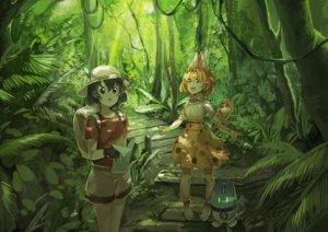Rating: Safe Score: 17 Tags: 2girls animal_ears black_eyes black_hair blonde_hair bow dress elbow_gloves forest gloves hat kaban kemono_friends koruse lucky_beast_(kemono_friends) serval short_hair shorts tail tree yellow_eyes User: RyuZU