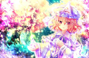 Rating: Safe Score: 27 Tags: blonde_hair cherry_blossoms flowers hat japanese_clothes kimono petals pink_hair purple_eyes ribbons riichu saigyouji_yuyuko short_hair touhou User: Tensa
