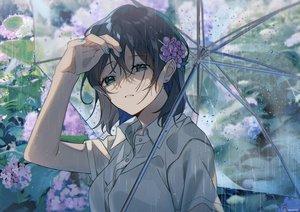 Rating: Safe Score: 45 Tags: aqua_eyes black_hair close flowers omutatsu original rain short_hair signed umbrella water User: FormX