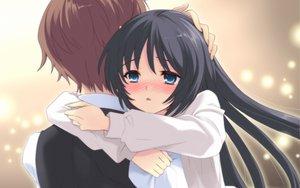 Rating: Safe Score: 44 Tags: black_hair blue_eyes blush flyable_heart hug itou_noiji katsuragi_syo kimi_no_nagori_wa_shizuka_ni_yurete shirasagi_mayuri User: Tensa