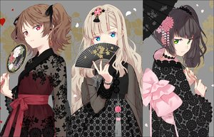 Rating: Safe Score: 86 Tags: aqua_eyes blonde_hair bow brown_hair chinese_clothes choker fan flowers gothic green_eyes hakusai headdress japanese_clothes kimono long_hair original pink_eyes ponytail ribbons twintails umbrella User: luckyluna