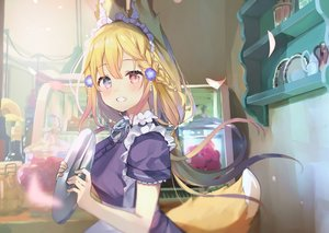 Rating: Safe Score: 79 Tags: animal_ears bicolored_eyes blonde_hair blush braids foxgirl headband long_hair maid tagme_(character) tail yushima User: BattlequeenYume