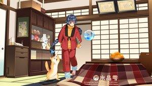 Rating: Safe Score: 30 Tags: animal aqua_eyes black_hair cat crystal_dew_world food japanese_clothes kirino_kasumu kotatsu suishou_shizuku watermark User: gnarf1975