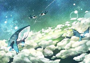 Rating: Safe Score: 67 Tags: chodo_(mahumohi) clouds original scenic school_uniform sky stars User: FormX