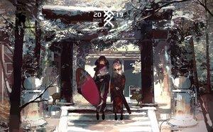 Rating: Safe Score: 60 Tags: 2girls hat japanese_clothes kimono kukka original scarf shrine torii umbrella User: FormX