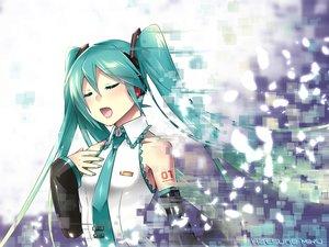 Rating: Safe Score: 65 Tags: aqua_hair caffein hatsune_miku headphones long_hair tie vocaloid User: Wiresetc