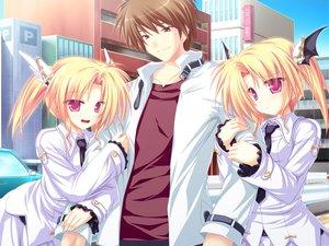 Rating: Safe Score: 20 Tags: blonde_hair building city game_cg group magus_tale nina_geminis red_eyes rena_geminis school_uniform tenmaso twins twintails whirlpool User: Oyashiro-sama