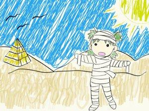 Rating: Safe Score: 8 Tags: bandage desert koiwai_yotsuba polychromatic sketch yotsubato! User: Oyashiro-sama