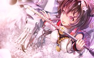 Rating: Safe Score: 138 Tags: anthropomorphism breasts brown_hair cherry_blossoms flowers kantai_collection long_hair pakupaku_choppu petals red_eyes weapon yamato_(kancolle) User: FormX