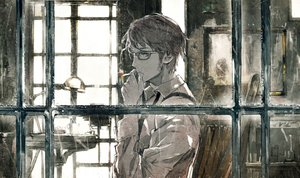 Rating: Safe Score: 102 Tags: all_male brown_hair cigarette glasses male original shirt short_hair smoking tie toi8 User: Flandre93