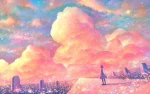 Rating: Safe Score: 20 Tags: bou_nin clouds dress original polychromatic scenic short_hair sky User: mattiasc02