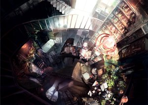 Rating: Safe Score: 284 Tags: book cake drink flowers food h2so4kancel hat horns landscape long_hair magic original red_eyes ribbons scenic school_uniform skirt skull stockings thighhighs white_hair witch witch_hat User: Maboroshi