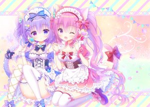 Rating: Safe Score: 112 Tags: animal_ears apron bicolored_eyes breasts catgirl cleavage headdress kamishiro_piyo lolita_fashion maid original purple_eyes tail thighhighs wand wink User: 蕾咪