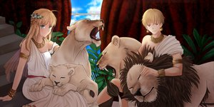 Rating: Safe Score: 108 Tags: animal artoria_pendragon_(all) blonde_hair fate_(series) fate/stay_night gilgamesh green_eyes red_eyes saber stairs tiger User: Tensa