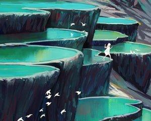 Rating: Safe Score: 14 Tags: animal barefoot bird cropped dress jun_(5455454541) long_hair original scenic water white_hair User: SciFi