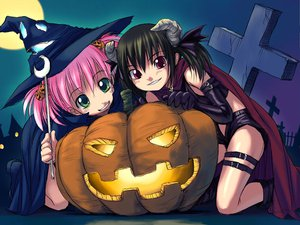 Rating: Safe Score: 22 Tags: 2girls askray demon halloween jpeg_artifacts loli moe_(bosshi) pumpkin witch yu_(bosshi) User: Oyashiro-sama