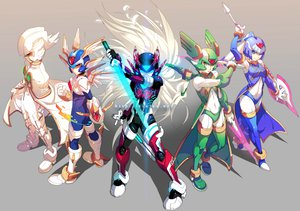 Rating: Safe Score: 90 Tags: armor capcom cape gray group rockman spear sword weapon User: Dragoonxxx