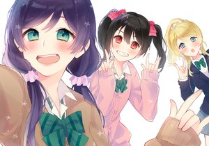 Rating: Safe Score: 39 Tags: ayase_eri black_hair blonde_hair blue_eyes blush bow chiyomaru_(yumichiyo0606) green_eyes long_hair love_live!_school_idol_project ponytail purple_hair school_uniform toujou_nozomi twintails yazawa_nico User: BattlequeenYume