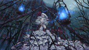 Rating: Safe Score: 50 Tags: building daradarahundosi hat pointed_ears red_eyes remilia_scarlet short_hair sky touhou vampire white_hair wings User: BattlequeenYume
