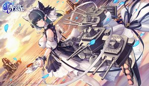 Rating: Safe Score: 45 Tags: animal_ears anthropomorphism apron aqua_eyes azur_lane black_hair breasts cat_smile cheshire_(azur_lane) logo maid mechagirl nidy-2d- petals sky thighhighs water weapon User: Nepcoheart