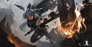 Rating: Safe Score: 52 Tags: animal_ears arknights bunny_ears bunnygirl cape erosiscon gray_hair long_hair savage_(arknights) thighhighs weapon User: BattlequeenYume