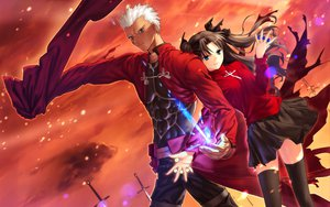 Rating: Safe Score: 31 Tags: archer dark_skin fate_(series) fate/stay_night male skirt sword thighhighs tohsaka_rin twintails weapon white_hair User: 秀悟