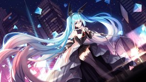 Rating: Safe Score: 86 Tags: aqua_eyes aqua_hair bisonbison bow building city forever_7th_capital hatsune_miku headband long_hair microphone night skirt sky stars thighhighs twintails vocaloid zettai_ryouiki User: BattlequeenYume