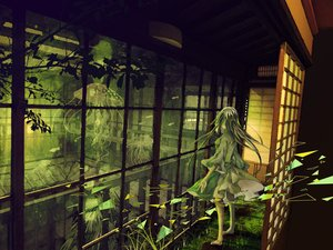 Rating: Safe Score: 41 Tags: animal barefoot dress fish grass green long_hair mashima_kuni original scenic User: FormX