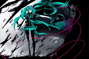 Rating: Safe Score: 85 Tags: aqua_eyes aqua_hair gloves hatsune_miku headphones koi_wa_sensou_(vocaloid) long_hair pantyhose skirt twintails vocaloid User: HawthorneKitty