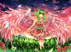 Rating: Safe Score: 35 Tags: aqua_eyes braids dress flowers green_hair kanekiru original rose sunset wings User: mattiasc02