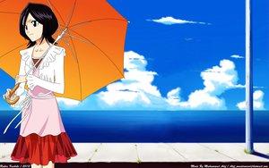 Rating: Safe Score: 36 Tags: black_hair bleach blue_eyes clouds dress jpeg_artifacts kuchiki_rukia short_hair third-party_edit umbrella water User: Atif
