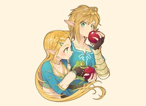 Rating: Safe Score: 23 Tags: aliasing animal apple braids food frog fruit gloves green_eyes kimitoshiin link_(zelda) long_hair male pointed_ears ponytail princess_zelda short_hair the_legend_of_zelda User: otaku_emmy