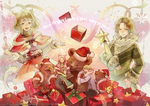 Rating: Safe Score: 15 Tags: animal animal_ears bear blonde_hair catgirl chocobo christmas elezen final_fantasy final_fantasy_xiv green_hair hat hug hyur long_hair male miqo'te moogle pink_hair pointed_ears santa_costume santa_hat short_hair square_enix tagme_(artist) tail watermark yellow_eyes User: SciFi