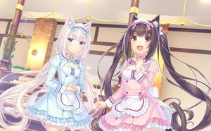 Rating: Safe Score: 43 Tags: 2girls animal_ears blue_eyes blush brown_eyes brown_hair catgirl cat_smile chocola_(sayori) game_cg headband long_hair maid nekopara neko_works sayori tail twintails vanilla_(sayori) waitress white_hair User: BattlequeenYume