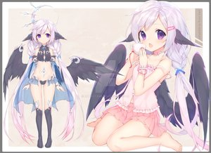 Rating: Safe Score: 77 Tags: barefoot braids drink long_hair navel original purple_eyes runa_stark skirt thighhighs twintails watermark white_hair wings User: BattlequeenYume