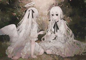 Rating: Safe Score: 69 Tags: angel barefoot denki_ryu dress halo lolita_fashion original polychromatic ribbons twintails wings User: kyxor