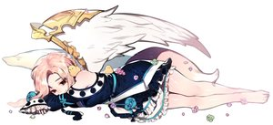 Rating: Safe Score: 50 Tags: animal barefoot bird blonde_hair braids flowers mabinogi red_eyes rimsuk tagme_(character) tail wings User: BattlequeenYume