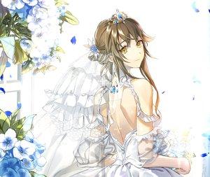 Rating: Safe Score: 56 Tags: brown_hair ddaomphyo dress flowers forever_7th_capital headdress tiara wedding_attire yellow_eyes User: otaku_emmy