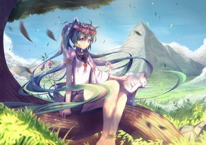 Rating: Safe Score: 103 Tags: animal animal_ears aqua_hair blue_eyes cat catgirl hatsune_miku long_hair tree twintails vocaloid xiaosan_ye User: Eleanor
