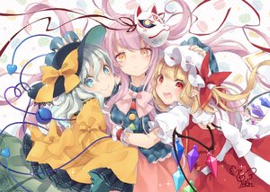 Rating: Safe Score: 28 Tags: blonde_hair blush bow fang flandre_scarlet green_eyes hat hata_no_kokoro hug komeiji_koishi loli long_hair mask orange_eyes pink_hair ponytail red_eyes ribbons signed touhou toutenkou vampire white wings User: RyuZU