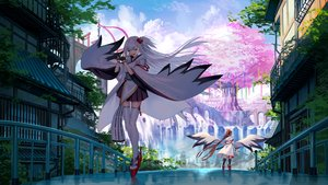 Rating: Safe Score: 56 Tags: 2girls akusema anthropomorphism azur_lane brown_hair building city clouds flute gloves instrument japanese_clothes long_hair ponytail shade shoukaku_(azur_lane) sky sword thighhighs torii tree water waterfall weapon white_hair zettai_ryouiki zuikaku_(azur_lane) User: BattlequeenYume