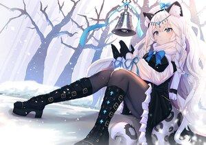 Rating: Safe Score: 78 Tags: animal_ears arknights bell braids catgirl gloves lankuchashuangjielong long_hair pantyhose pramanix_(arknights) snow tail tree white_hair User: BattlequeenYume