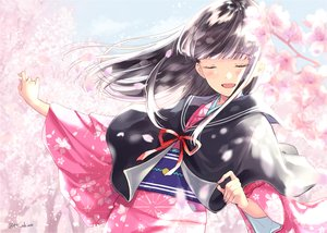 Rating: Safe Score: 27 Tags: aliasing black_hair blush cape cherry_blossoms flowers japanese_clothes kimono long_hair miyabi_akino original petals signed User: RyuZU