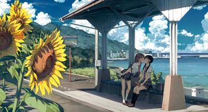 Rating: Safe Score: 226 Tags: 2girls 5_nenme_no_houkago black_hair book brown_hair building city clouds cropped flowers kantoku kiss kneehighs mirror reflection scan scenic school_uniform shoujo_ai skirt sky sunflower tie twintails water User: RyuZU