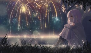 Rating: Safe Score: 75 Tags: ano54 bicolored_eyes blush dark fireworks grass long_hair night original pink_hair signed skirt sky stars water User: BattlequeenYume